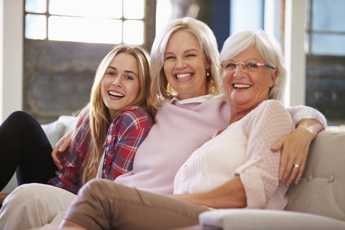 Smiling women on a couch
