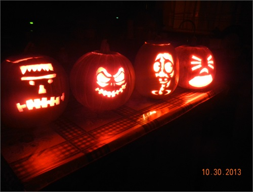 The completed carved pumpkins
