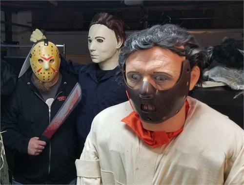 Live Jason hanging out with two nemesis dummies