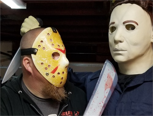 Live Jason showing animatronic Michael who's the boss