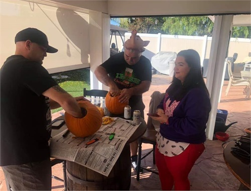 With so much going on CEO forgot to carve the drunk pumpkin and a regular pumpkin. So CEO asked some crew members to help