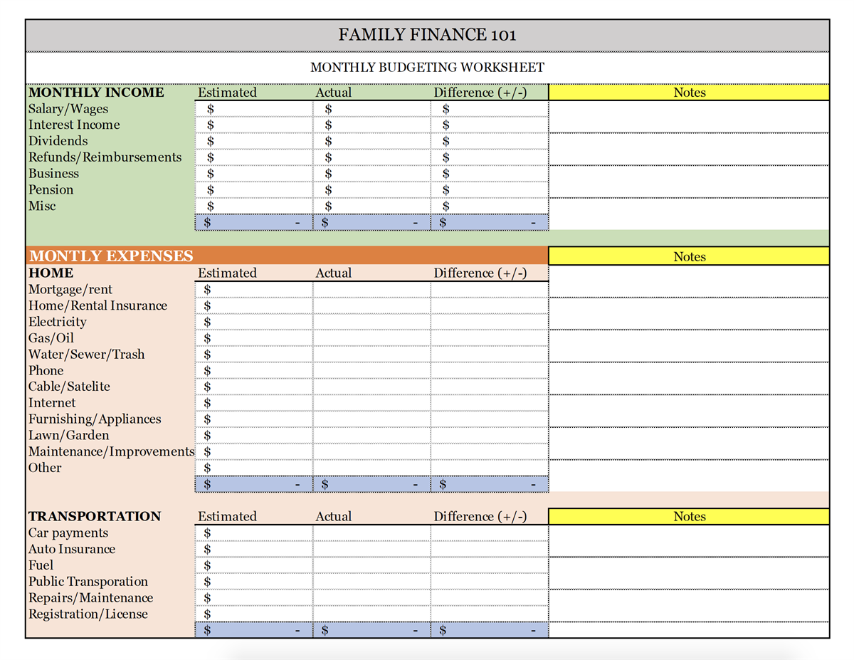 income vs expenses worksheet stokes financial group