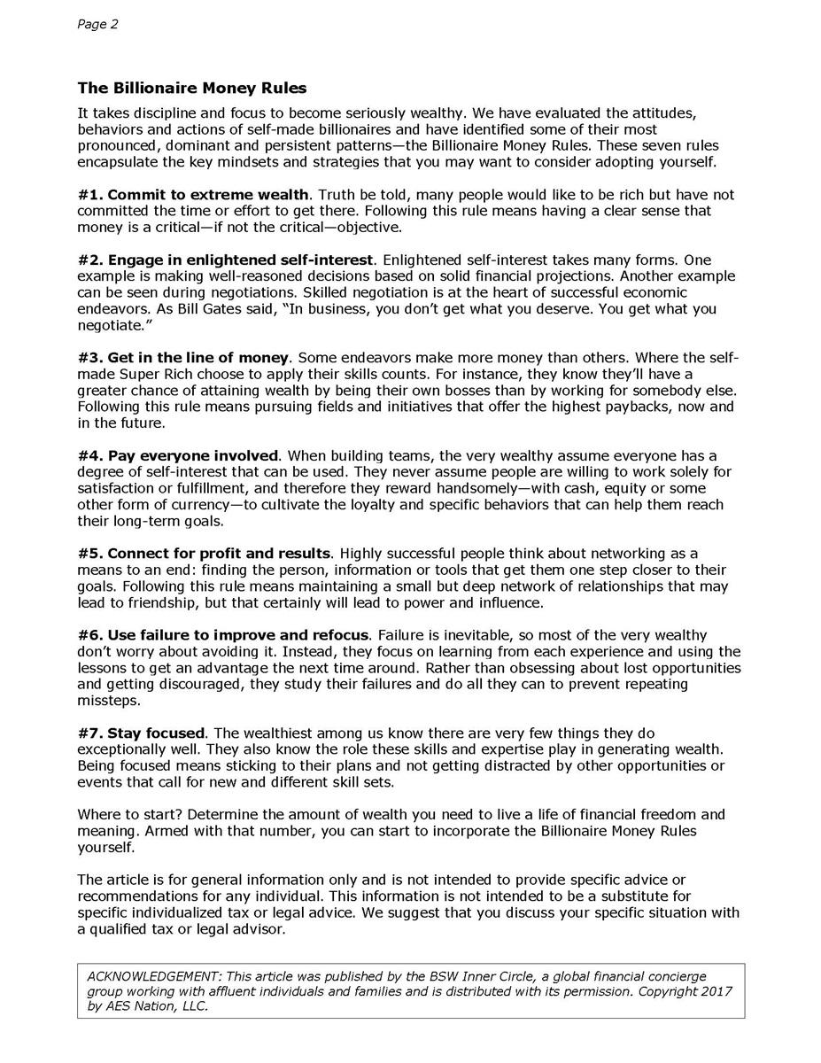 The Billionaire Money Rules   Collier Wealth Management, Inc