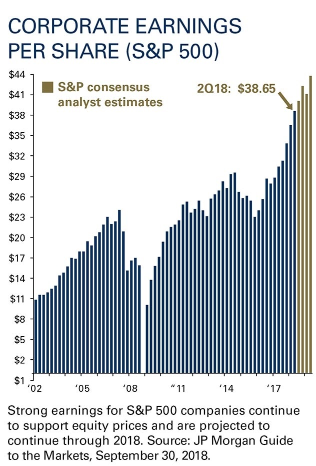 Strong earnings for S&P 500 companies continue to support equity prices and are projected to continue through 2018.