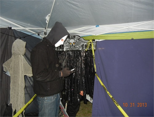 Jason Actor checking his phone before the Haunt begins