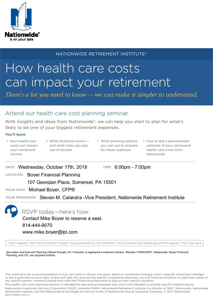 Health Care Costs Seminar at Boyer Financial Planning
