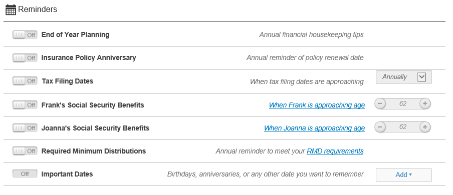 Setting Alerts | Retirement Planning Center