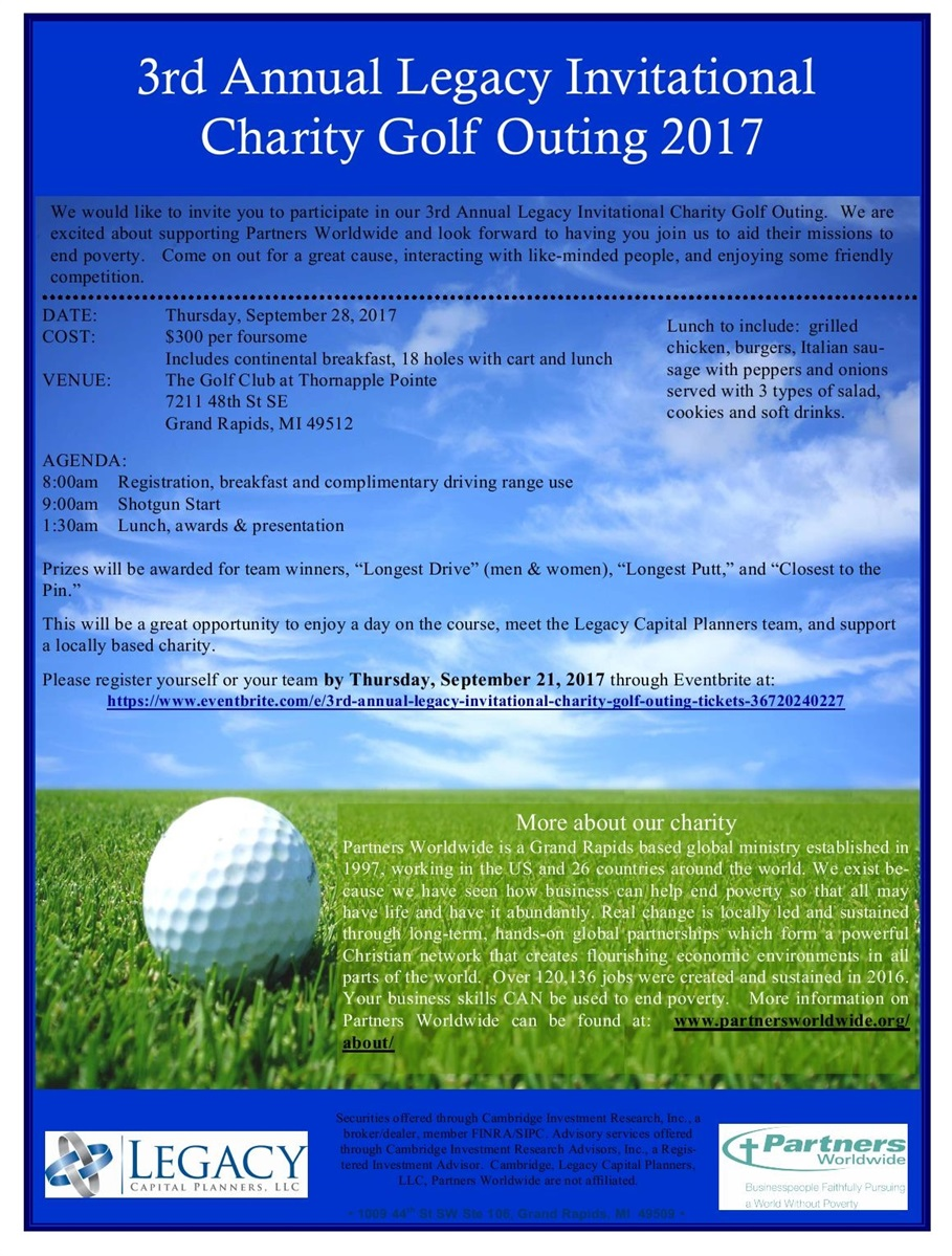 2017 legacy charity golf outing invitation
