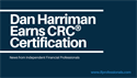 Dan Harriman Earns the Accredited  CRC® Retirement Counselor Certification