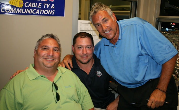 John in TV Booth with Iron Pigs Announcers