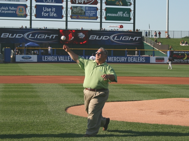 John Throws Out The First Pitch!