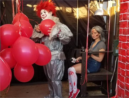 "Jenny and ""IT"" clown preparing for another live segment"