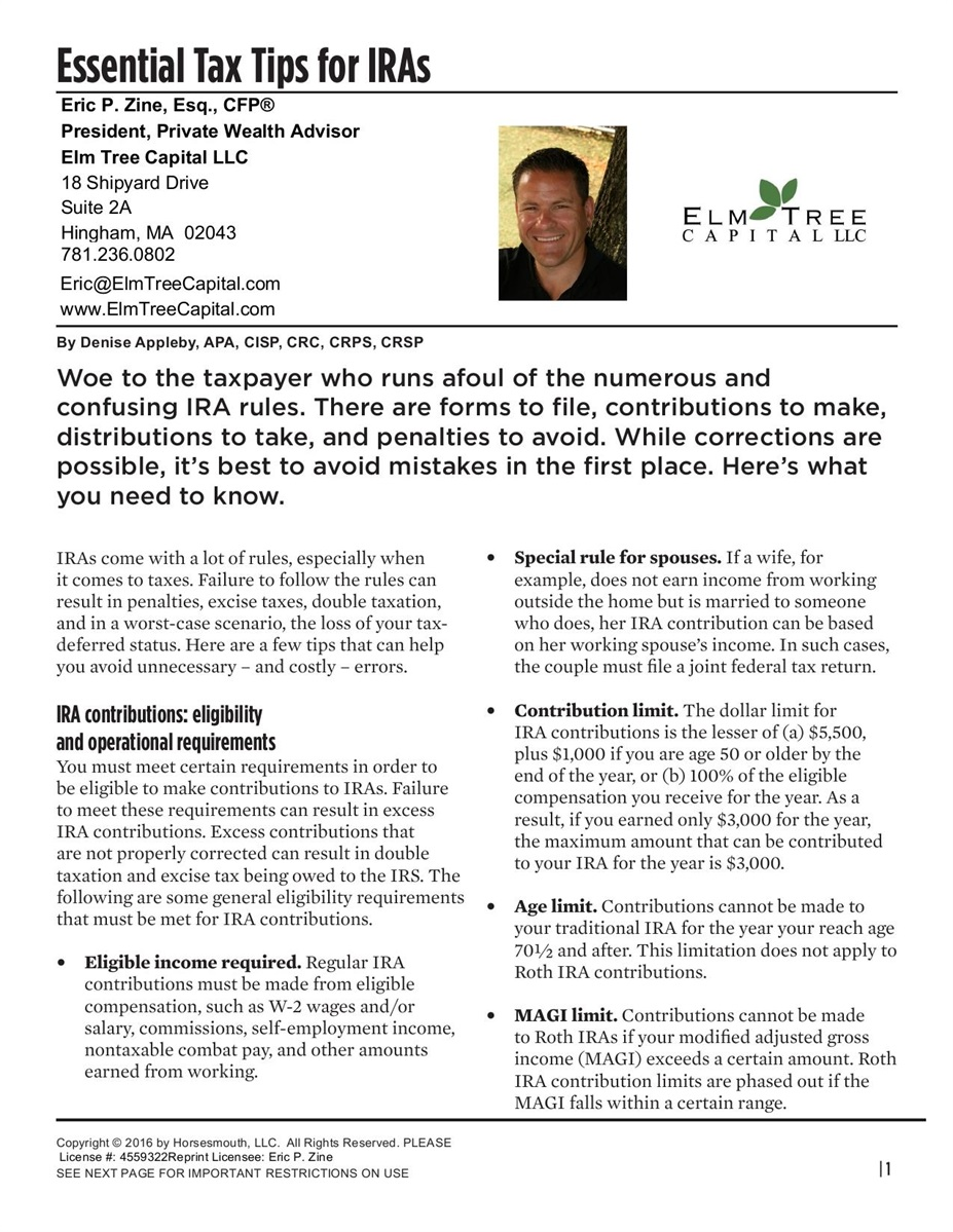 Essential Tax Tips for IRAs | Eric P  Zine, Esq , CFP®, CDFA®