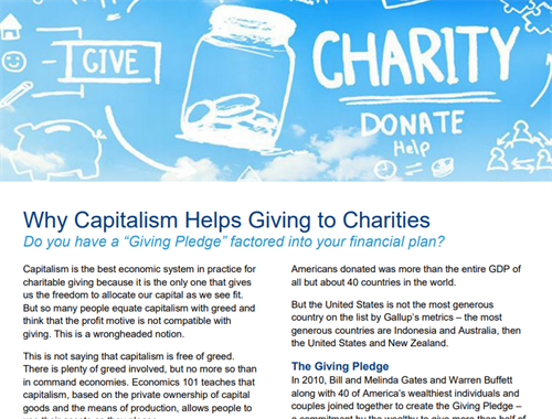 Why Capitalism Helps Giving To Charities