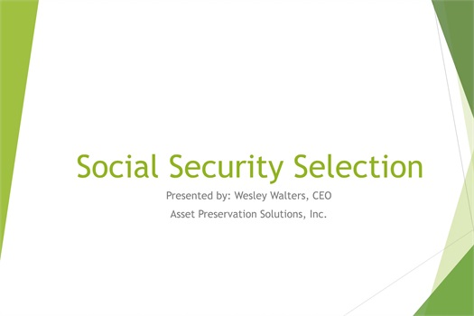 Social Security Selection
