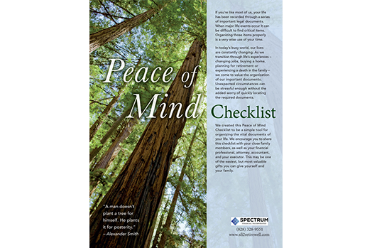 Peace of Mind Checklist
