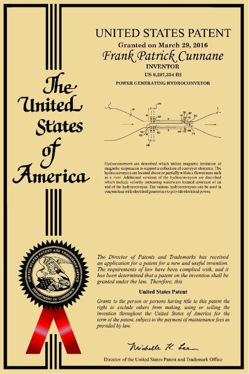 Power Generating Hydroconveyor US Patent Granted March 29, 2016