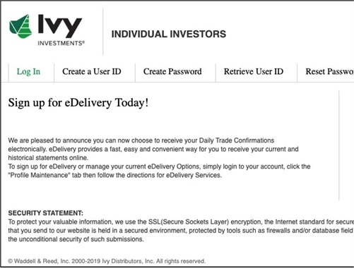 Ivy Investments account access