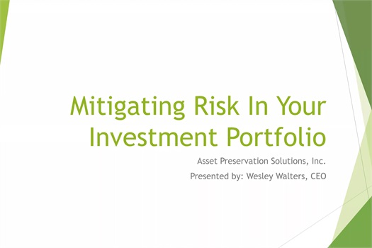 Mitigating Risk In Your Investment Portfolio