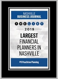 Peachtree Planning Named one of Nashville's Largest Financial Planners October 2019