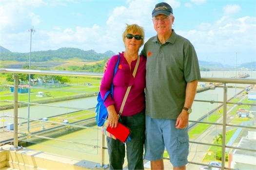 <strong>Vince and Pat enjoying their Panama Canal Tour 2014.</strong>