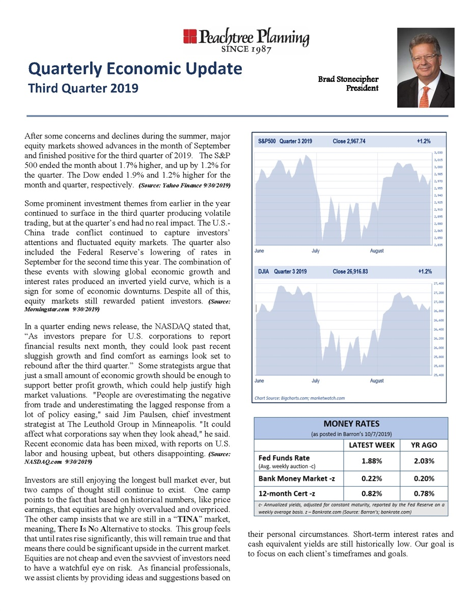 Quarterly Economic Update: Third Quarter 2019