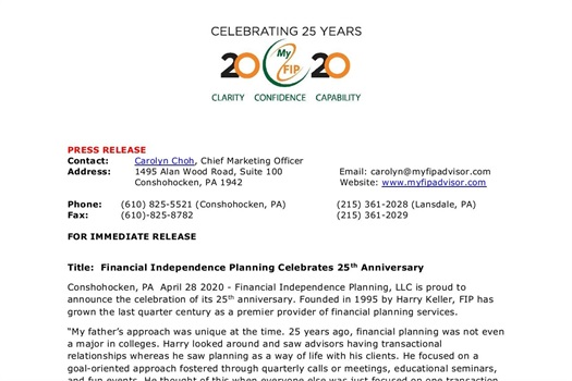 FIP Celebrates 25 Years of Serving the Community