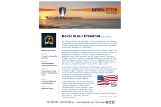 <br /><strong>July 2020 Newsletter</strong>