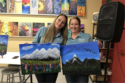 Trina and Alissa at the Painting with a Twist Client Appreciation Event