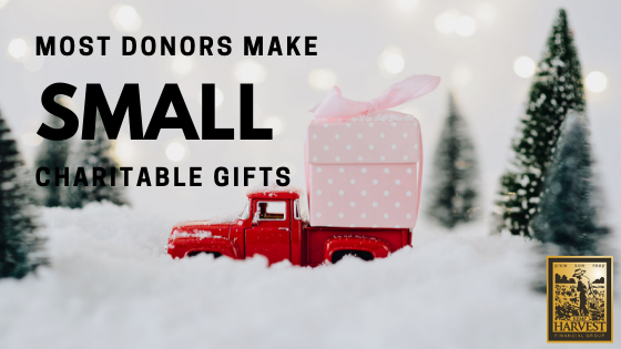 Most Donors Make Small  Charitable Gifts