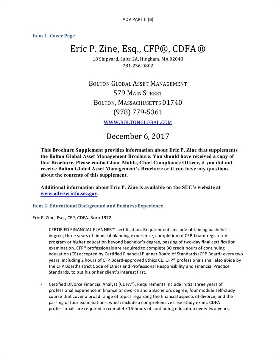 BGAM Form ADV Part II(B) | Eric P  Zine, Esq , CFP®, CDFA®