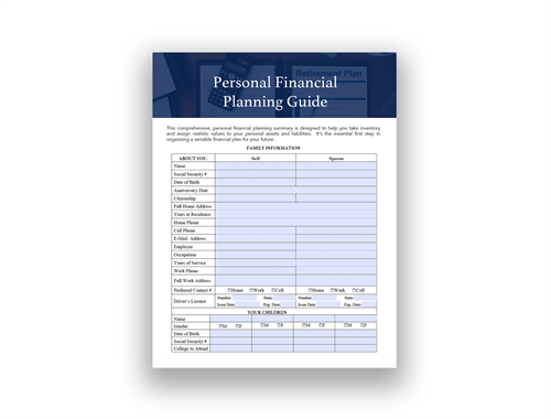 Step 2: Complete Your Personal Financial Planning Guide