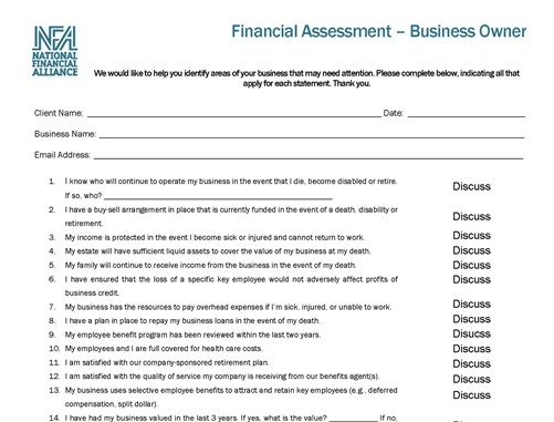 Financial Assessment Business Questionnaire