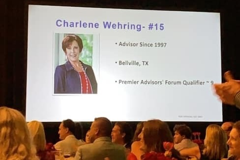 Charlene Wehring honored as a top 15 performing advisor.