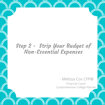 Melissa Cox CFP encourages you to strip your budget of non-essential expenses.