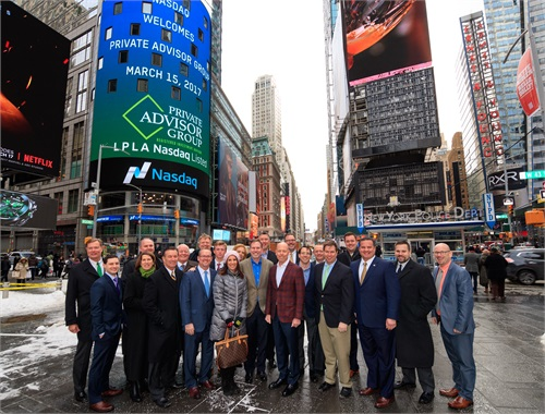 "Private Advisor Group team members outside NASDAQ headquarters in Times Square &#160; <p style=""margin: 0in 0in 0pt;""><em><span style=""color: #323333;""><span style=""font-family: Calibri; font-size: medium;"">Photography by Christopher Galluzzo / Nasdaq, Inc.</span></span></em>"