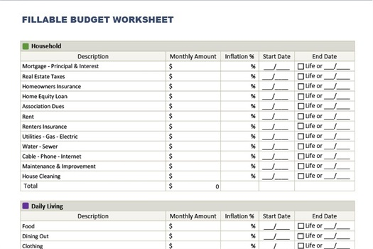 A Fillable Budget For You