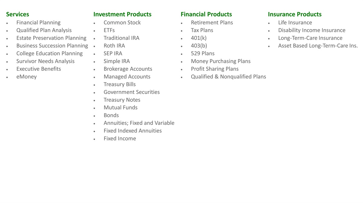 Products & Services | Weyers McKeever Financial Partners