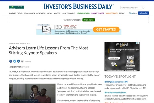 "Brian D. Heckert Featured in ""Investor's Business Daily"""
