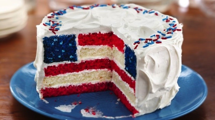 Red, White, and Blue Layered Flag Cake