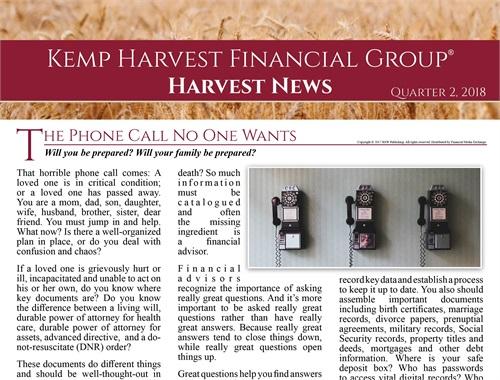 Newsletter | Kemp Harvest Financial Group