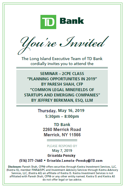 2 CPE Seminar - TD Bank (Merrick Branch) | Paresh B  Shah