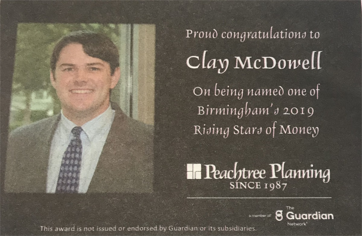 Peachtree Planning's Clay McDowell Named one of Birmingham's 2019 Rising Stars of Money