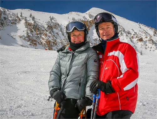... and a professional ski instructor (pictured with wife Tina).