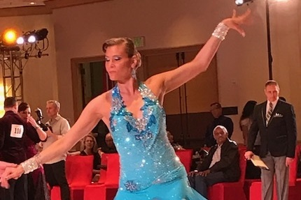 Julie in the CA Open Ballroom Competition 2017.