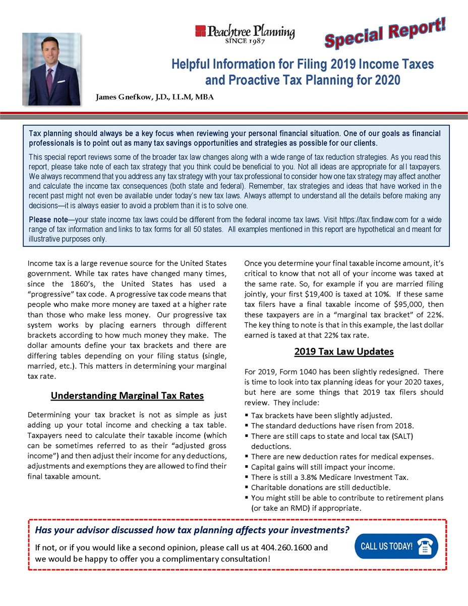 Helpful Information for Filing 2019 Income Taxes and Proactive Tax Planning for 2020