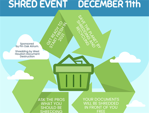 Join us December 11th from 1-4pm for a document shredding event at 1260 Pin Oak Rd Katy TX!  Shredding occurs on site in front of you.  Cox Global will be there to help!