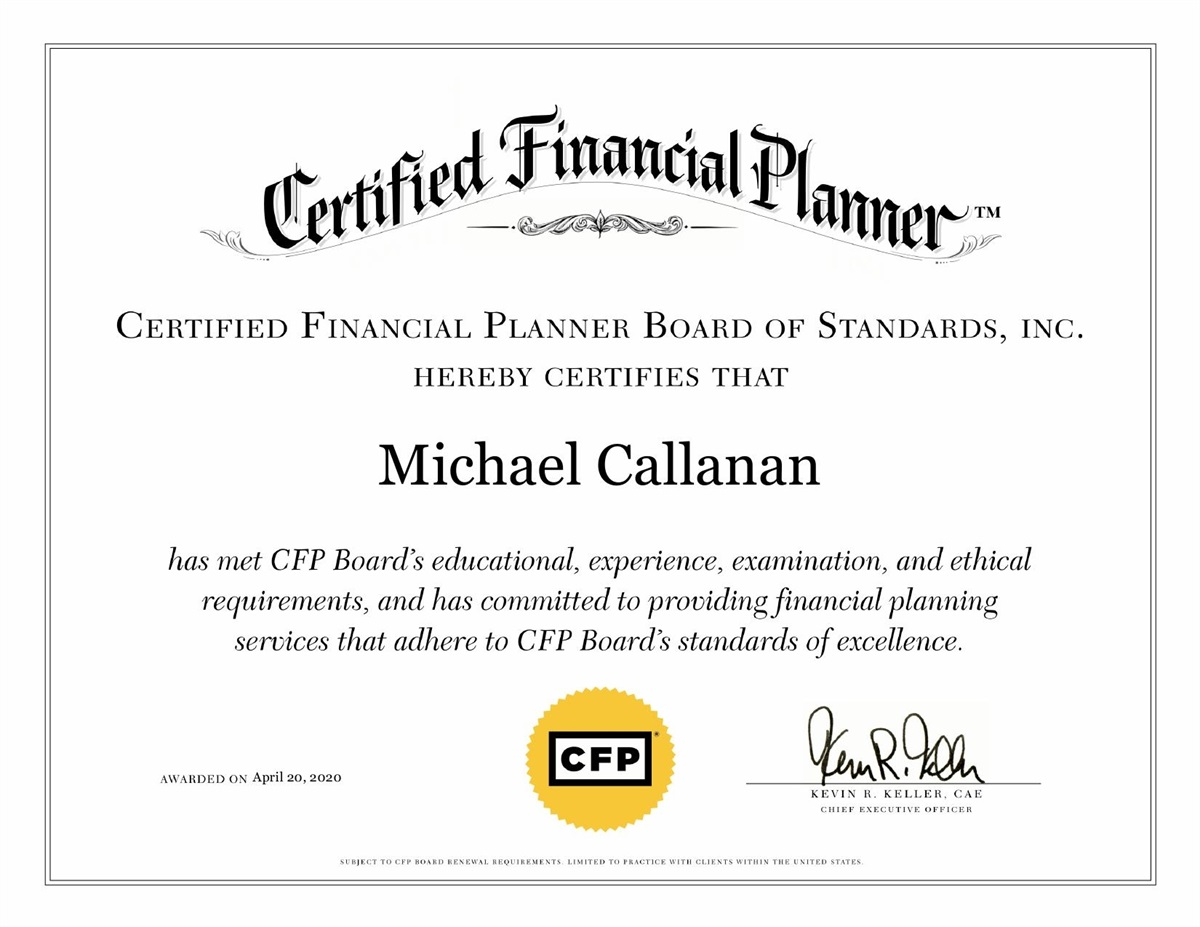 Michael Callanan of MRK Financial Solutions Earns Certified Financial Planner® Designation