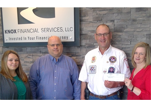 West Union Volunteer Fire Department receives Knox Financial Casual Thursday & Friday Donation