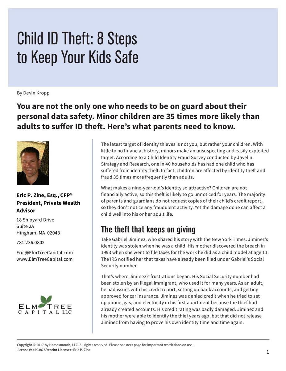 Child ID Theft: 8 Steps to Keep Your Kids Safe